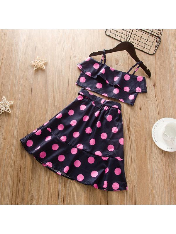 【12M-5Y】Girls Fashion Polka Dot Camisole Top Skirt Set
