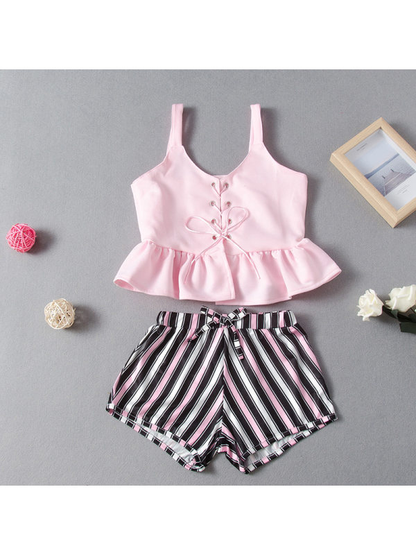 【18M-7Y】Girls Pink Strappy Camisole Top Striped Shorts Suit