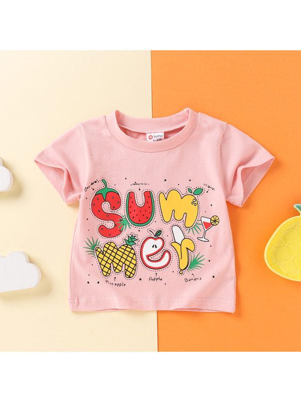 【3M-3Y】Girls Cute Crew Neck Letter Fruit Print Short Sleeve T-shirt