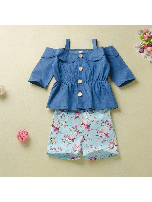 【12M-5Y】Girls Fashion One-shoulder Camisole Top Floral Shorts Suit