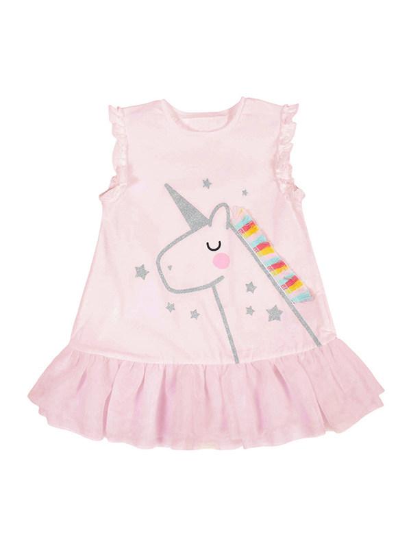 【18M-9Y】Girls Round Neck Sleeveless Cartoon Vest Dress