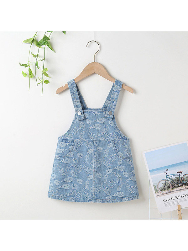 【18M-7Y】Girls Cashew Flower Denim Strap Dress