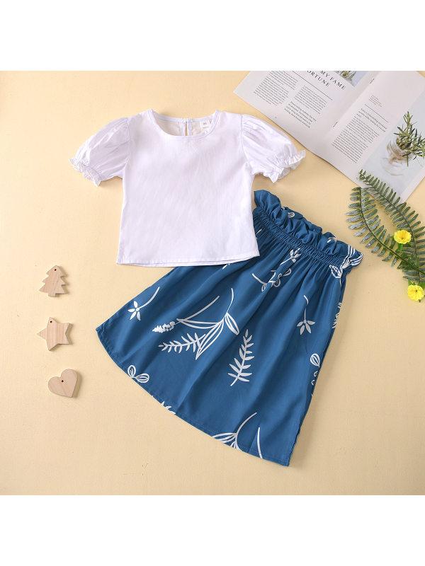 【18M-7Y】Girls White Puff Sleeve T-shirt Plant Print Skirt Set