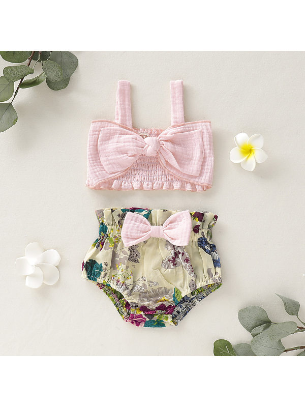 【6M-3Y】Girls Fresh Sweet Bow Camisole Top Printed Shorts Set