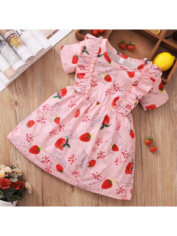 【18M-6Y】Cute Strawberry Print Pink Dress