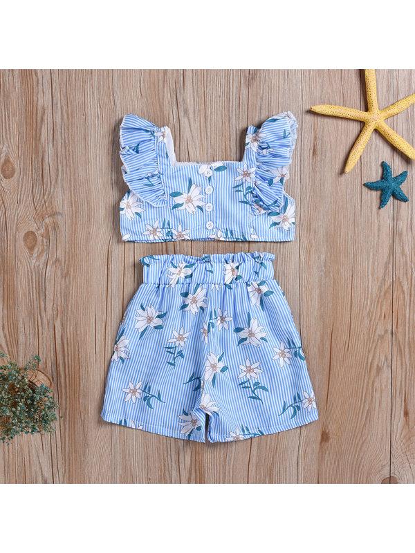 【12M-5Y】Girls Striped Flower Print Sleeveless Top Shorts Set