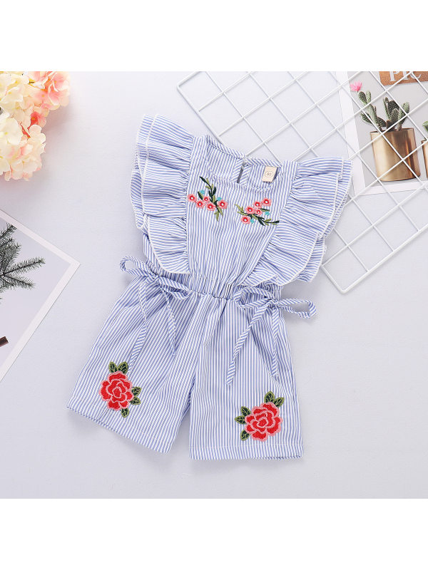 【12M-5Y】Girls Fresh Sweet Blue Striped Flower Embroidery Jumpsuit