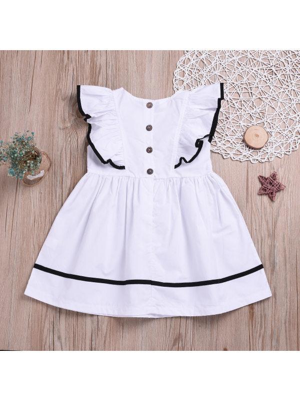 【18M-7Y】Girls Fashion Cute Lace Sleeveless White Dress