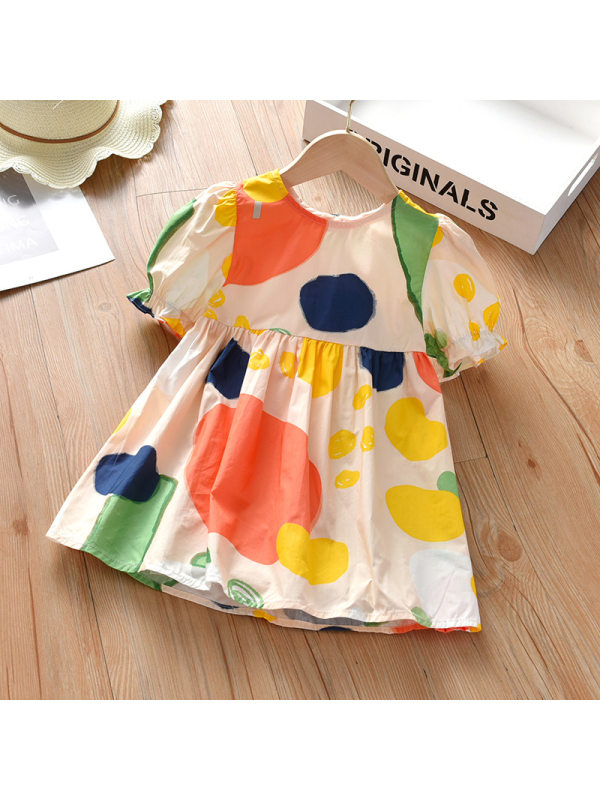 【18M-7Y】Cute Colorful Fruit Print Round Neck Short Sleeve Dress