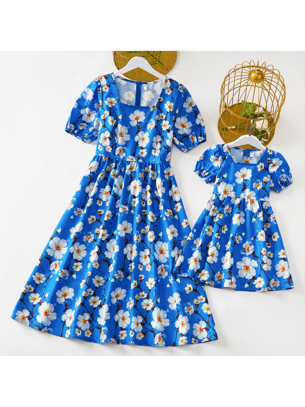 Sweet Blue Flower Print Mom Girl Matching Dress