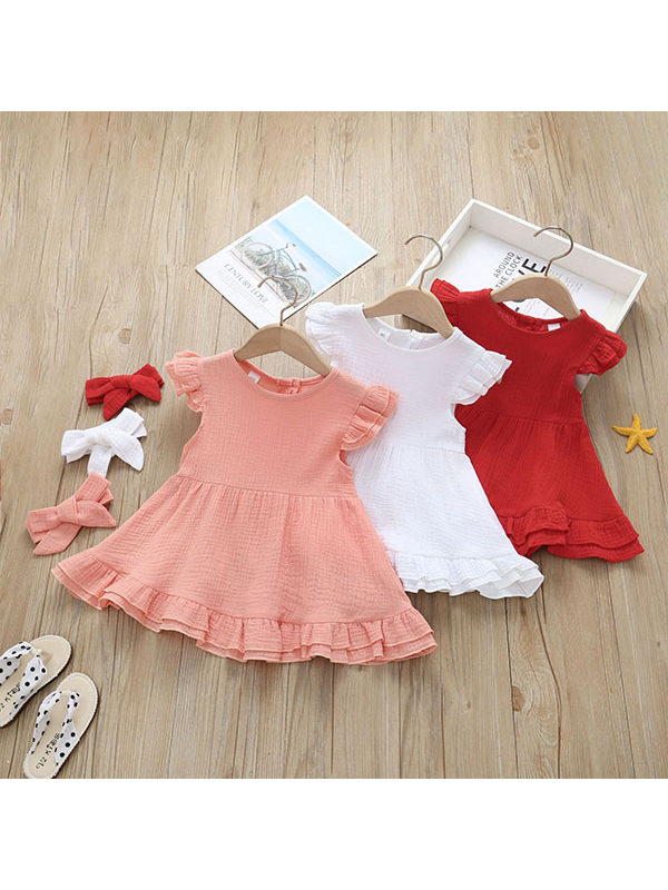 【12M-4Y】Girls Solid Color Little Flying Sleeve Lace Dress