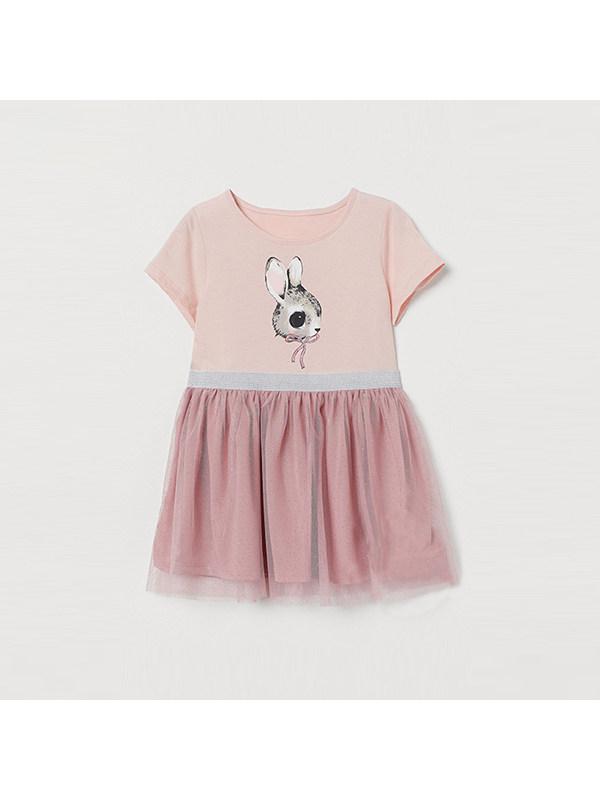【2Y-9Y】Girls Round Neck Short Sleeve Cartoon Print Dress