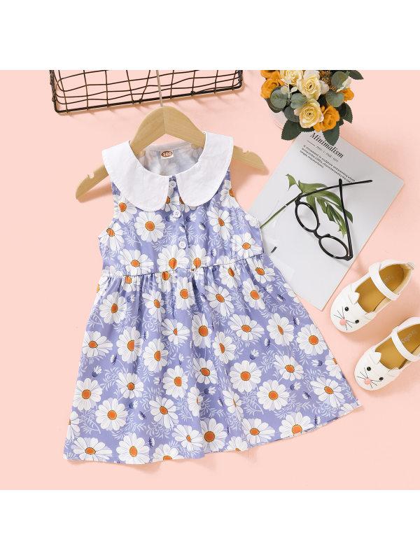【18M-7Y】Girls Little Daisy Print Sleeveless Doll Collar Dress
