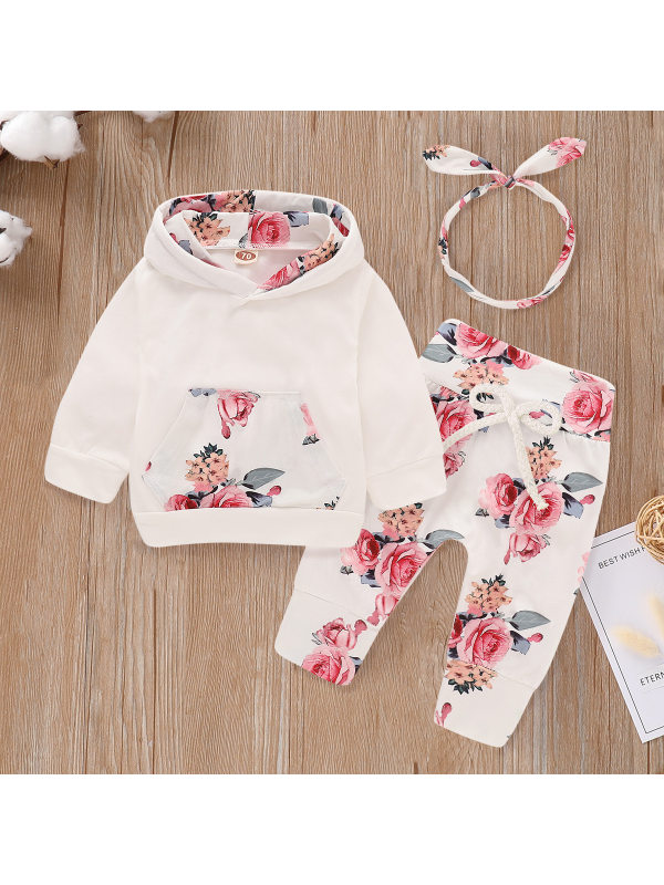 【6M-3Y】Girls Flower Print Hooded Sweatshirt Trousers Suit