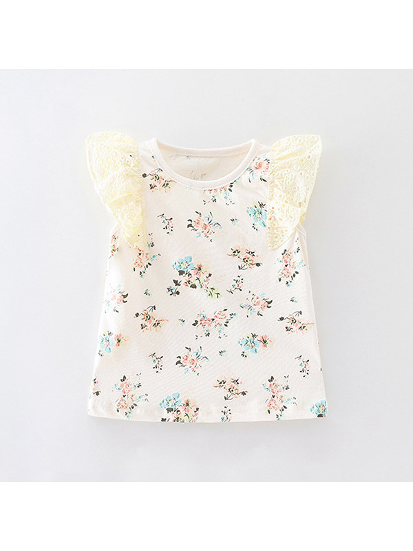 【18M-9Y】Girls Round Neck Flying Sleeve Floral T-shirt