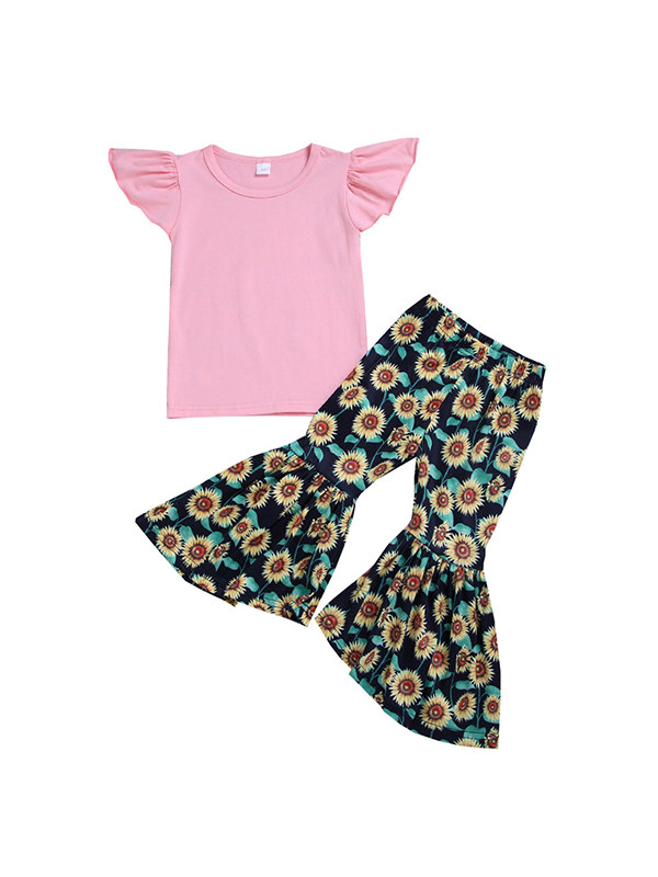 【18M-7Y】Girls Solid Color Flying Sleeve Top Floral Flared Trousers Two-piece Suit