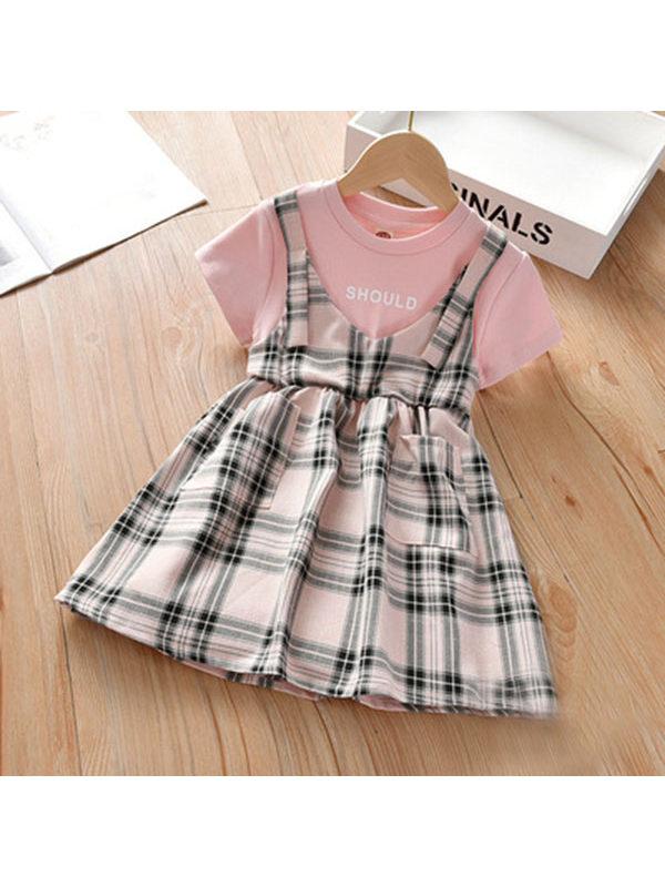 【2Y-9Y】Girls Plaid Short-sleeved Fake Two-piece Dress