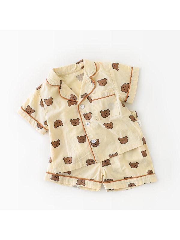 【6M-3Y】Baby Cartoon Print Short Sleeve Two-piece Suit