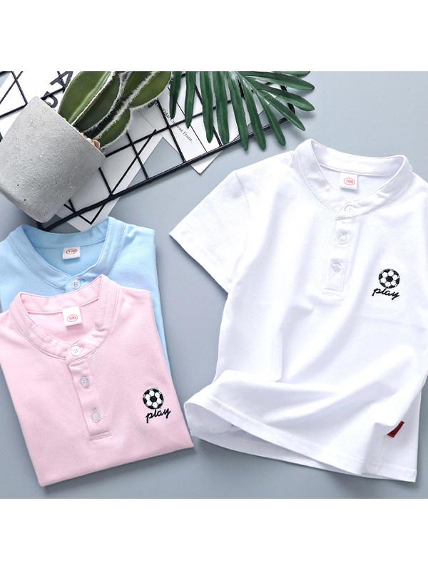【2Y-9Y】Boys Football Print Short Sleeve Stand Collar POLO Shirt