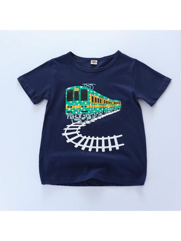 【18M-9Y】Boys Train Print Short Sleeve T-shirt