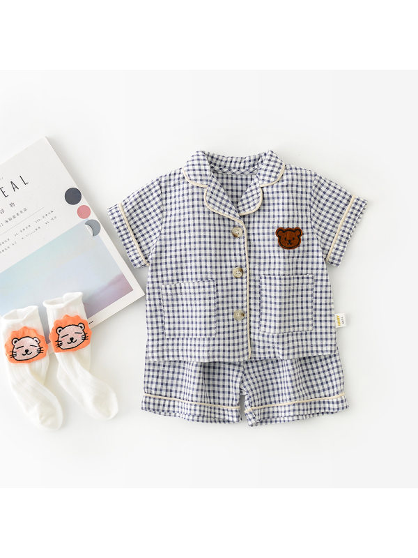 【6M-3Y】Baby Short-sleeved Plaid Two-piece Suit
