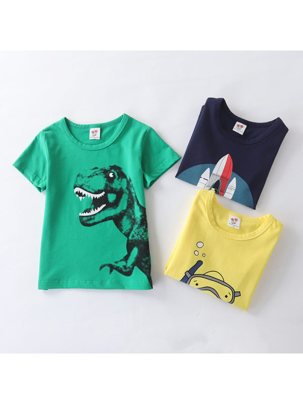 【2Y-13Y】Boys Cartoon Print Short Sleeve T-shirt