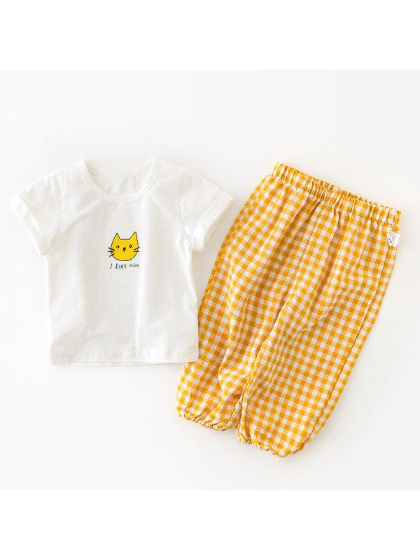 【9M-3Y】Baby Cartoon Print Short-sleeved T-shirt Long Pant Two-piece Set