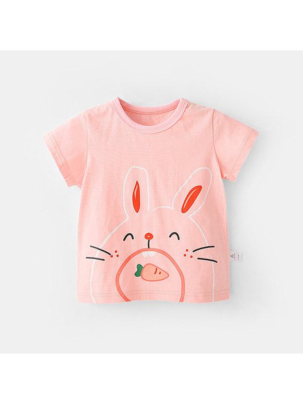 【12M-7Y】Girls Cartoon Animal Print Color Stiching Short Sleeve T-shirt