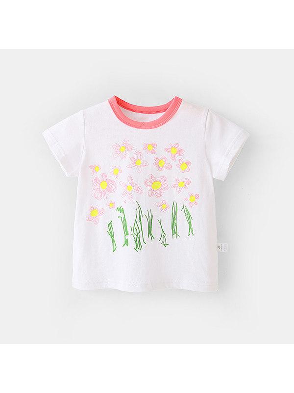 【12M-7Y】Girls Cute Cartoon Color Stiching Collar T-shirt