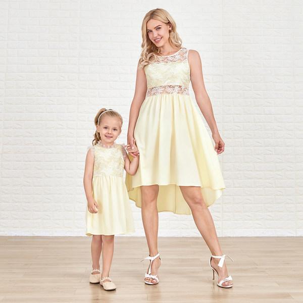 Sweet Embroidered Mesh Light Khaki Mom Girl Matching Dress