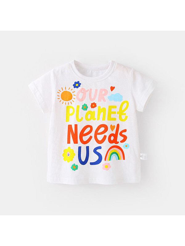 【12M-7Y】Girls Letter Print Short Sleeve Round Neck T-Shirt
