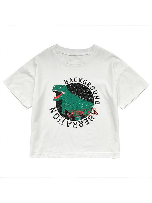 【12M-7Y】Boys Dinosaur Print Short Sleeve T-shirt