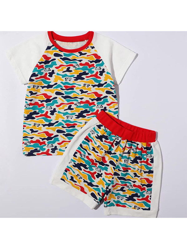 【12M-5Y】Boys Contrast Stitching Camouflage Print Short Sleeve Two-piece Suit