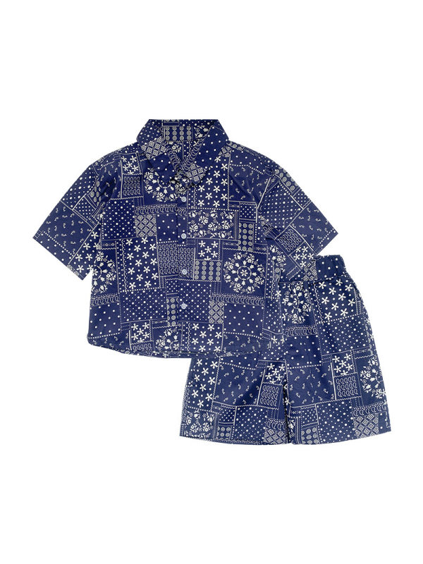 【12M-7Y】Boys Short Sleeve Holiday Style Personalized Printing Two-piece Suit