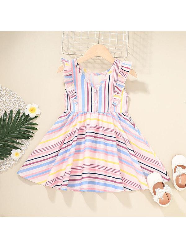 【12M-5Y】Girls Striped Simple Dress