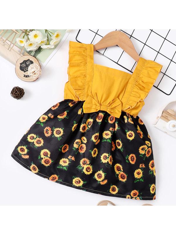 【6M-2.5Y】Baby Girl Sweet Yellow Flower Dress