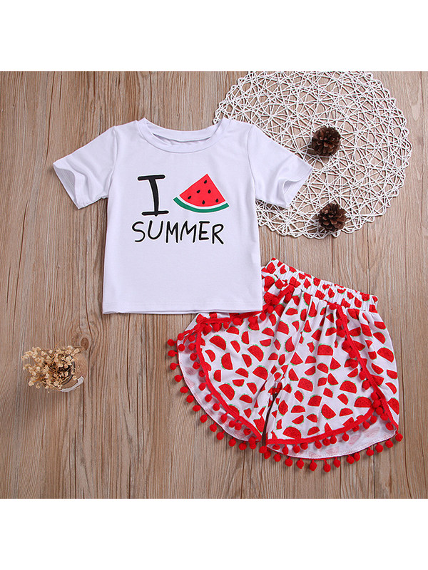 【2Y-9Y】Girls' Round Neck Short-sleeved Cotton White Letter Print With Tassel Shorts Two-piece Suit
