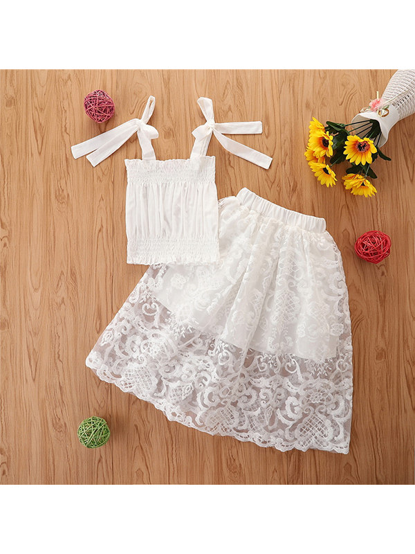 【2Y-9Y】Girls Skirt Camisole Lace Skirt Suit