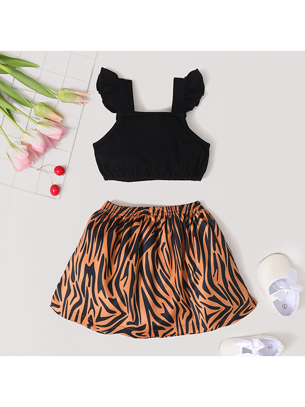 【12M-5Y】Cute Girls Black Flying Sleeves Suspenders With Shirt And Leopard Print Shorts Two-piece Set