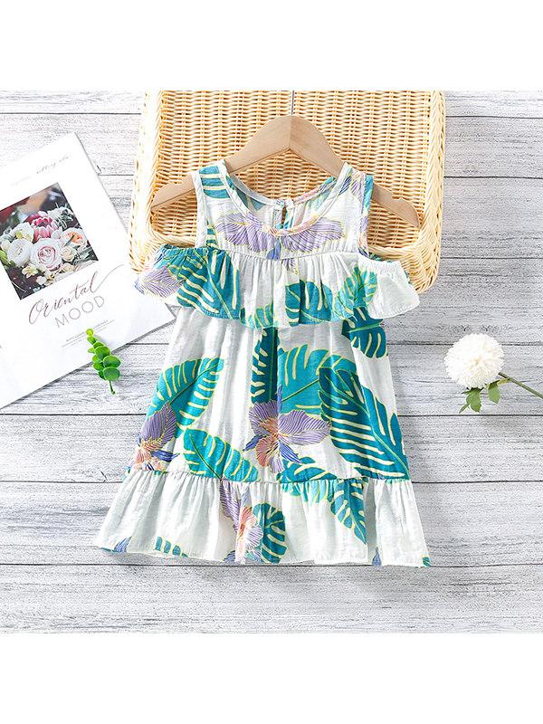 【2Y-9Y】Girls Print Off-the-shoulder Dress