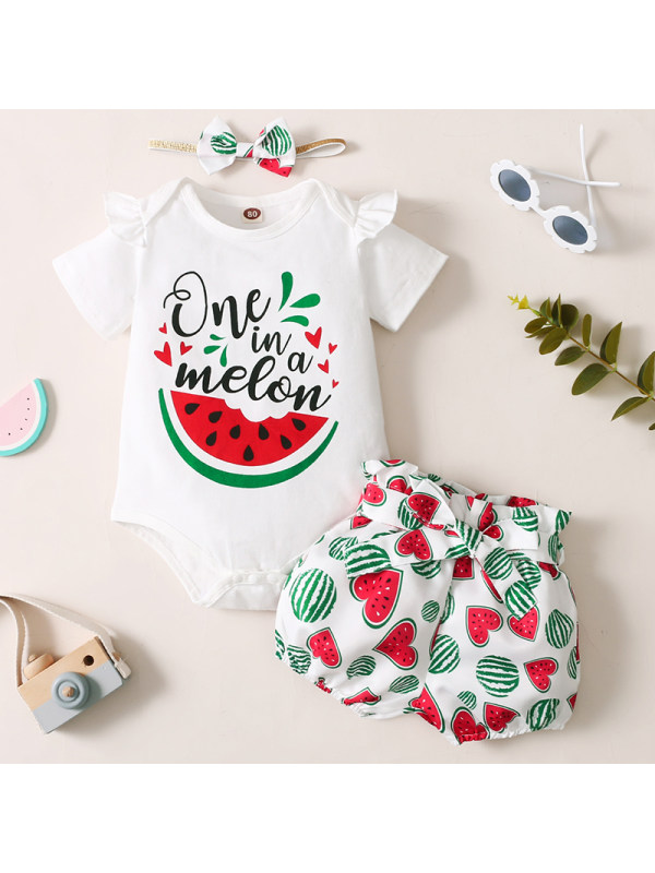 【6M-2.5Y】Baby Girl Sweet Watermelon Pattern Top and Shorts Set With Headband