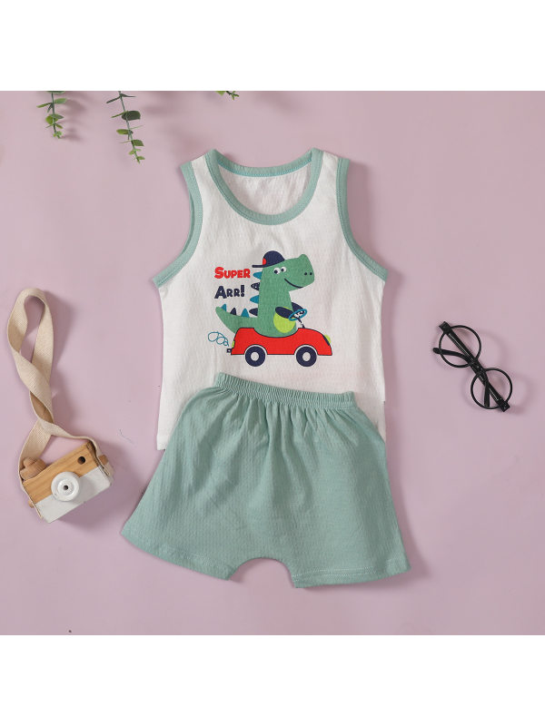 【6M-3Y】Boy's Cartoon Print Sleeveless Tank Top And Shorts Two-piece Suit