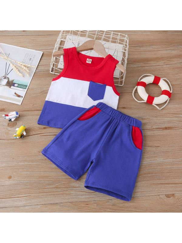【18M-7Y】Boys Contrast Stitching Sleeveless Tank Top And Shorts Two-piece Suit