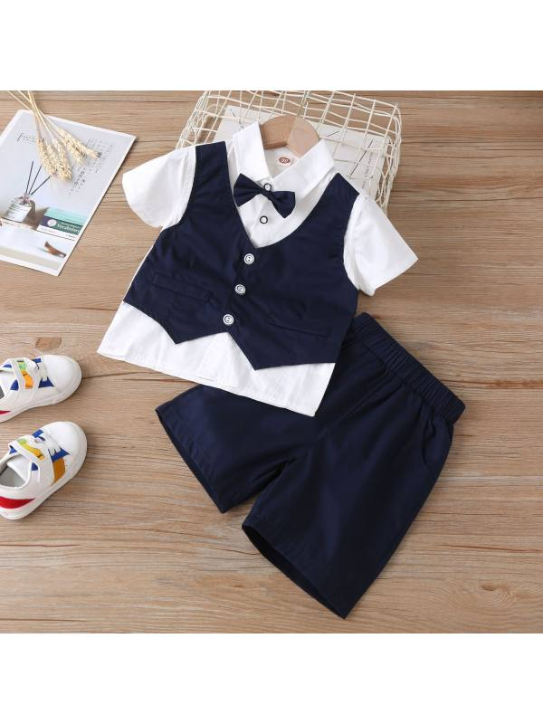 【18M-7Y】Boys Short-sleeved Dress Two-piece Suit