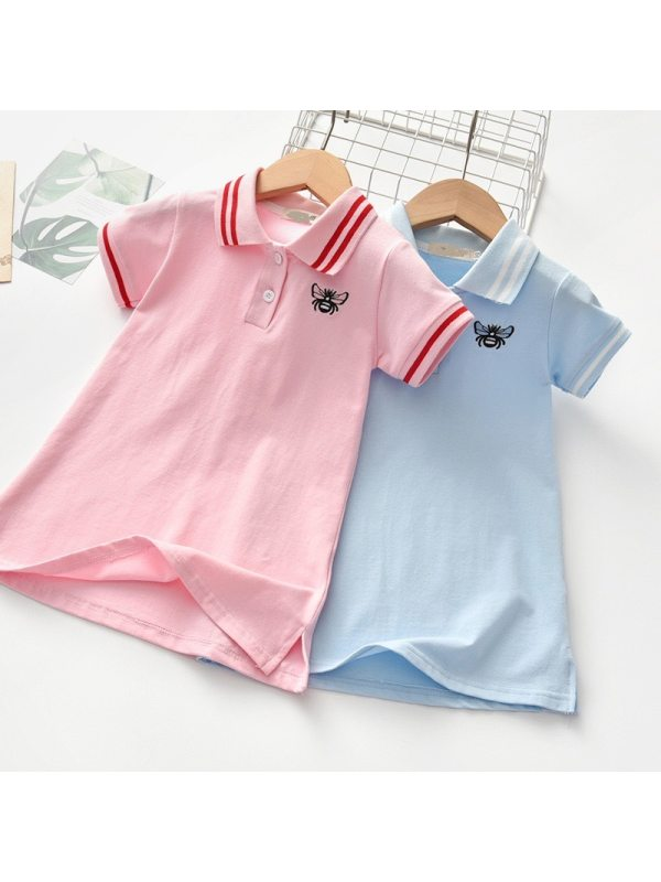 【18M-7Y】Girls Sweet Embroidered Short Sleeve Dress