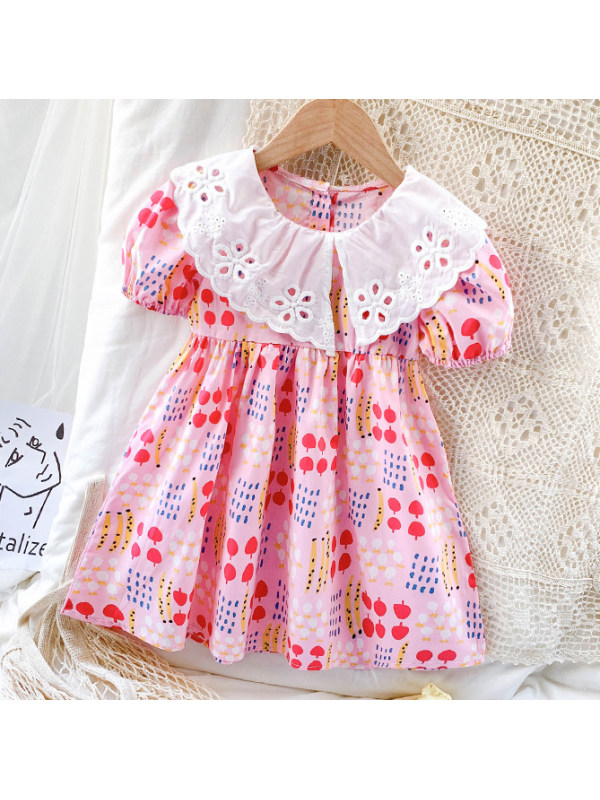 【12M-7Y】Sweet Lace Collar Pink Short Sleeve Dress