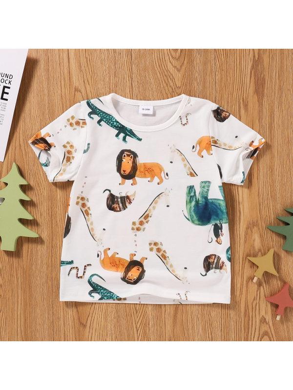 【18M-7Y】Boys Casual Cartoon Animal Print Short-sleeved T-shirt