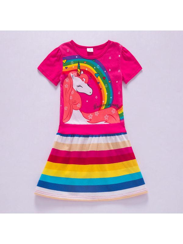 【3Y-8Y】Girl Sweet Rainbow Unicorn Pattern Short Sleeve Dress