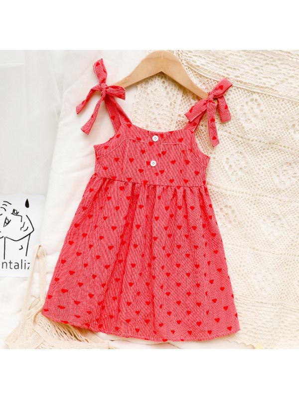【18M-7Y】Sweet Heart Shape Print Red Dress