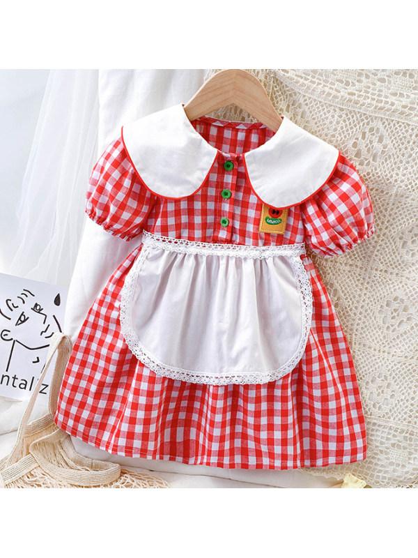 【18M-7Y】Cute Red Plaid Puff Sleeve Dress